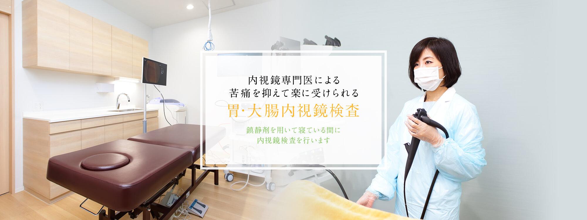 内視鏡専門医による苦痛を抑えて楽に受けられる胃・大腸内視鏡検査。鎮静剤を用いて寝ている間に内視鏡検査を行います